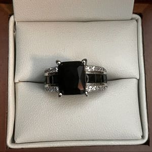 Emerald Cut Black Onyx Engagement Cz Ring